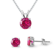Sterling Silver Simulated Ruby Necklace & Earrings Set