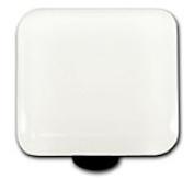 Hot Knobs HK1038-KB White Square Glass Cabinet Knob - Black Post
