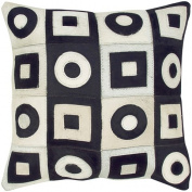 Indias Heritage C683 Leather - Square And Circles Pillow Black - White