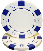 Brybelly Holdings CPSD-White-25 Roll of 25 - Striped Dice 11.5 gramme - White