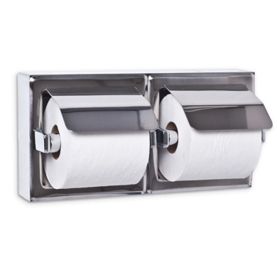 AJW UX76-BF-SM Dual Bright Hooded Toilet Tissue Dispenser - Surface Mounted