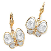 PalmBeach Jewellery 49569 18k Gold-Plated Two-Tone Filigree Butterfly Drop Earrings