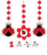 Creative Converting 995019 Ladybug Fancy - Printed Hanging Cutouts with Stickers - Case of 18