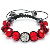 Best Desu 17079 Shambala-Style Crystal Bracelet Bordeaux Red