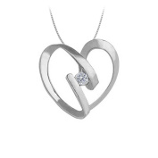 Fine Jewellery Vault UBNPD30948AGCZ April birthstone Channel Set Cubic Zirconia Heart Pendant in Sterling Silver 0.25 CT TGW