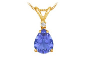 Fine Jewellery Vault UBUPDVPE86TZAGVY December Birthstone Tanzanite Teardrop Pendant with Cubic Zirconia in Gold Vermeil over Silver