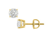 Fine Jewellery Vault UBER14YG4RD800CZ 14K Yellow Gold Round Cubic Zirconia Stud Earrings Quality CZ 8 Carat Total Gem Weight