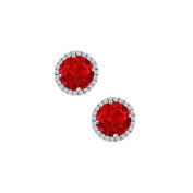 Fine Jewellery Vault UBUNER40691AGCZR July Birthstone Ruby with CZ Earrings in Sterling Silver