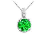 Fine Jewellery Vault UBUPD2356W14CZE Large Created Emerald 2 Carat Pendant in 14K White Gold with White CZ Total Gem Weight of 2.06
