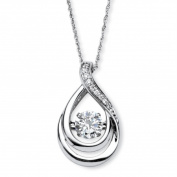 PalmBeach Jewellery 55394 Platinum Over Sterling Silver 1.06 TCW Round Cubic Zirconia Drop Pendant Necklace