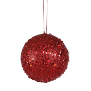 NorthLight 10cm . Fancy Red Hot Holographic Glitter Drenched Christmas Ball Ornament