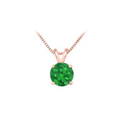 Fine Jewellery Vault UBUPD14P4RD100E 14K Rose Gold Prong Set Created Emerald Solitaire Pendant 1.00 CT TGW