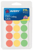 Avery 06733 .190cm . Round Assorted Neon Colour Coding Labels 315 Count Pack Of 6