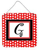 Carolines Treasures CJ1012-GDS66 Letter G Initial - Red Black Polka Dots Aluminium Metal Wall or Door Hanging Prints