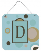 Carolines Treasures CJ1013-DDS66 Letter D Initial Monogram - Blue Dots Aluminium Metal Wall Or Door Hanging Prints