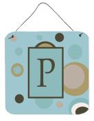 Carolines Treasures CJ1013-PDS66 Letter P Initial Monogram - Blue Dots Aluminium Metal Wall or Door Hanging Prints