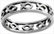 Solid Rock Jewellery 760167 Ring Cutout Ichthus Style 433 Stainless Steel Size 8
