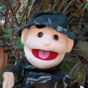 Sunny Toys GL1665 36cm . Black-Haired Boy Army Glove Puppet