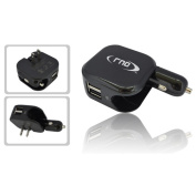 RND Accessories Dual Use Dual Port 2.1A USB Car Charger & Wall Charger - Black