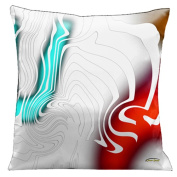 Lama Kasso 62 White on White with Aqua Red and Gold Accents Complimentary Pillow to