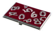 Visol V731B Visol Digits Crystals and Burgundy Lacquer Womens Business Card Case