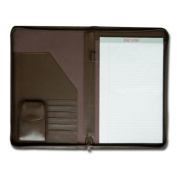 Dacasso e3403 Leather Deluxe Zip-Around Portfolio - Chocolate Brown