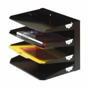 MMF 2644HLBK Steel Multi -Tier Horizontal Organiser 4 - Tier Legal Size - Black