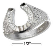 Plum Island Silver SR-3009-08 Sterling Silver Horseshoe Ring with Embossed Satin Finish - Size 8