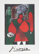 Pablo Picasso 2075 Femme en rouge su fauteuil Lithograph on Paper 70cm . x 60cm . - Red Green White Black Grey