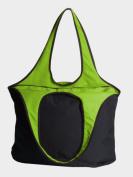 Peerless VEST001-Black-Lime Village Zipper Tote Bag Black And Lime