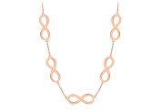 Fine Jewellery Vault UBNK3039AGVR Infinity Link Necklace Vermeil with 14K Rose Gold Sterling Silver 43cm . Length