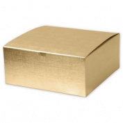 Deluxe Small Business Sales 541-883-15 8 x 20cm x 8.9cm . Linen Foil One-Piece Gift Boxes Gold