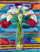 Rainbow Card Company SC210LL 30cm x 41cm . Stretched Canvas Lillies