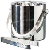 Torre & Tagus 920090 Linear Ice Bucket with Tongs, Silver