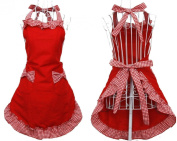 Priny Womens Cute Red Cotton Kitchen Restaurant Aprons Cooking Chef Waitress Apron