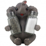 Decorative Lucky Baby Elephant Salt and Pepper Shaker Set with Holder Figurine for African Jungle Safari Kitchen Decor Statuettes & Sculptures Featuring Zoo Animals As Unique Collectible Gifts