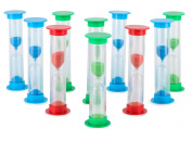 Sand Timer Set Large 10pcs Pack (1 Minute) - Colourful Set of One Minute Hour Glasses for Kids - Colour