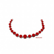 Fine Jewellery Vault UBUNKBK7205AGR Ruby Graduated Bead Necklace Sterling Silver 30 CT TGW July Birthstone Jewellery