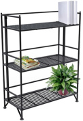 Convenience Concepts 8019B X-Tra Storage 3 Tier Wide Black Folding Metal Shelf by Convenience Concepts