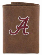 ZeppelinProducts UAL-IWE2-CRZH-LBR Alabama Trifold Embroidered Leather Wallet