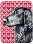 Carolines Treasures LH9141LCB Flat Coated Retriever Hearts Love & Valentines Day Glass Cutting Board Large
