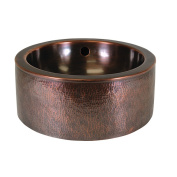 The Copper Factory Solid Hand Hammered Copper 38cm . Diameter Round Vessel Sink With Apron in Antique Copper Finish - CF160AN