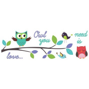 Brewster Home Fashions CR-58110 Owl You Need Is Love Wall Decals - 100cm .
