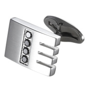 Caseti CACL014 Caseti Thatcher Stainless Steel and Black Crystal Cuff Links
