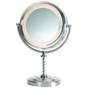 Jerdon Style HL856MNC 20cm . 6X-1X Lighted Table Top Mirror Nickel Height 36cm .
