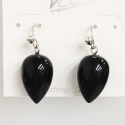 Vera & Co. Inc. 2S-6316N Sterling Silver Pear Shape Onxy Gold Plating Earring
