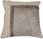 Indias Heritage C876 Grey Hairon Leather And Hand Embroidery Pillow Wheat