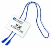 Times Up 10cm x 7.6cm . Hanging Name Badge Kit With Printable Inserts And Bolo Cord Polypropylene Blue Pack - 25