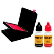 Stamp-Ever 6cm x 10cm . 2-Colour Flip Stamp Pad And Refill Ink Red And Black