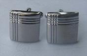 Best Desu 17039 Crisscross Silver Rectangle Cufflinks